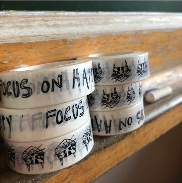 helen b washi tape cat focus on happy