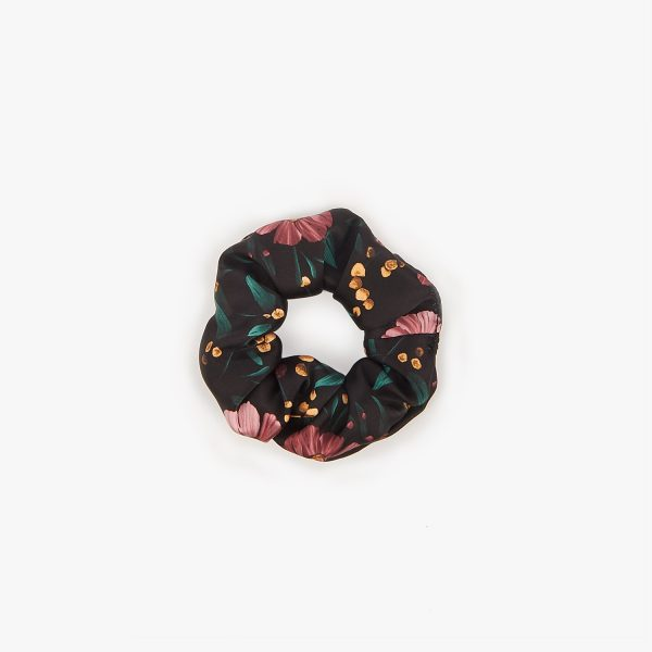 wouf black flowers scrunchies