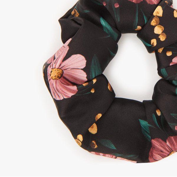 wouf black flowers scrunchies