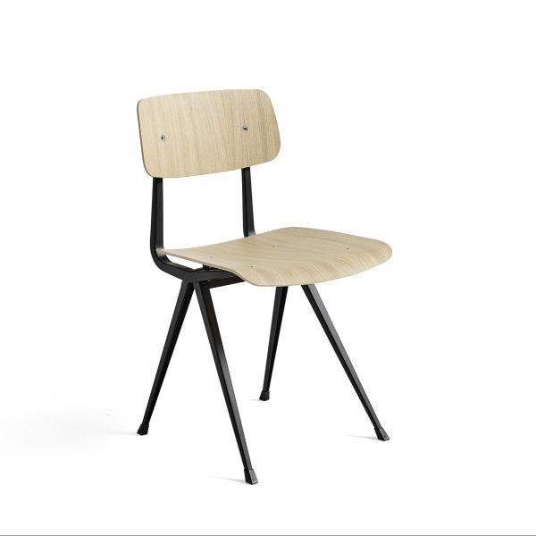 result chair mat gelakte eik zwart onderstel